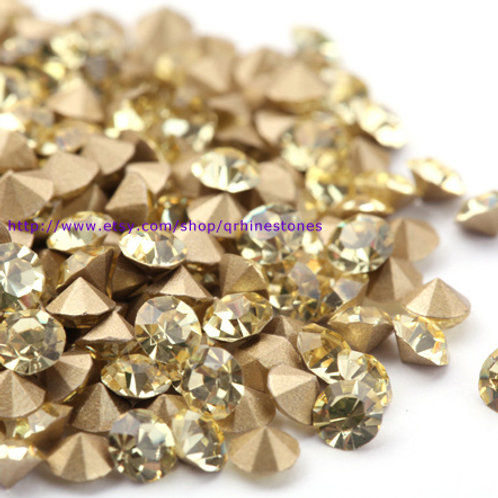 Pointed Back Rhinestones - Jonquil