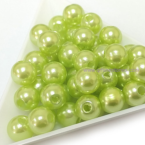 Round Spherical Pearls drilled with hole LIGHT GREEN