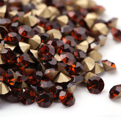 Pointed Back Rhinestones - Smoke Topaz