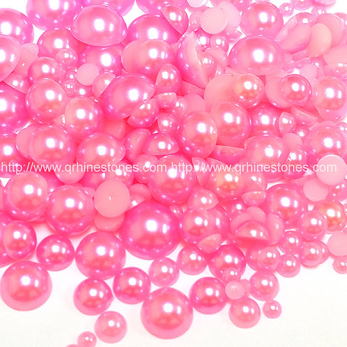 800pcs Assorted Size Flat Back Pearls - Hot Pink