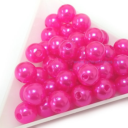 Round Spherical Pearls drilled with hole MAGENTA
