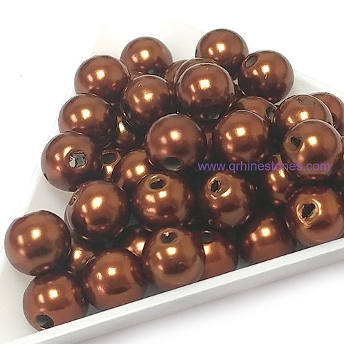 Round Spherical Pearls drilled with hole BROWN