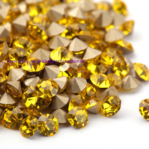 Pointed Back Rhinestones - Citrine