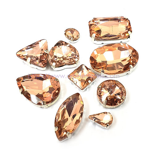 10pcs Set of Sew on Fancy Crystal Random Mix Shapes - Light Peach