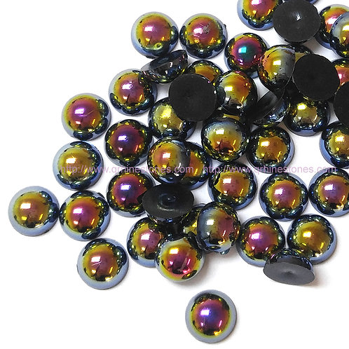 Black AB Flat Back Pearls