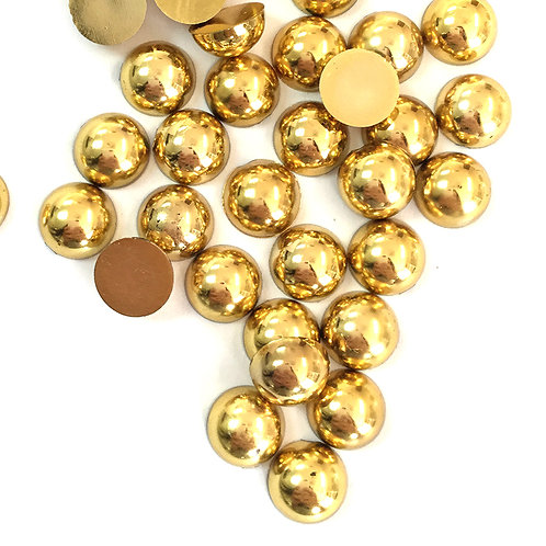 Metallic Gold Flat Back Pearls