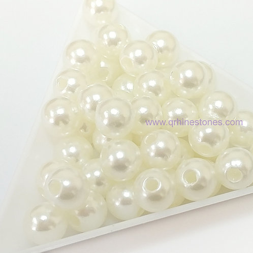 Round Spherical Pearls drilled with hole IVORY