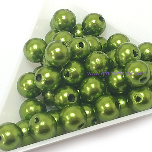 Round Spherical Pearls drilled with hole OLIVE GREEN