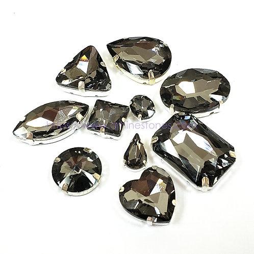 10pcs Set of Sew on Fancy Crystal Random Mix Shapes - Black Diamond