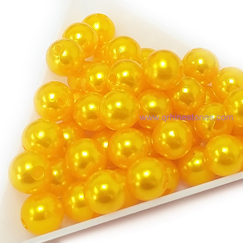 Round Spherical Pearls drilled with hole GOLDEN YELLOW