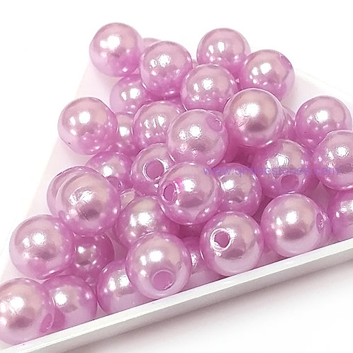 Round Spherical Pearls drilled with hole LIGHT PURPLE