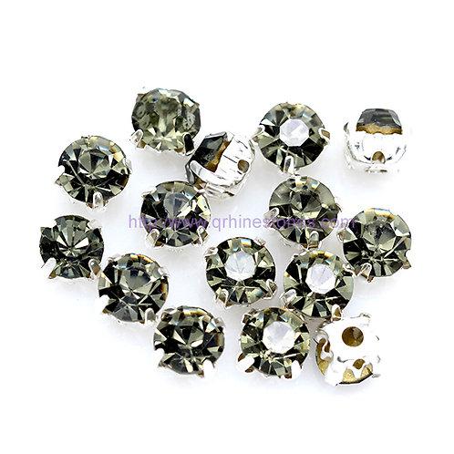 Sew on Round Chaton - Black Diamond