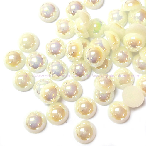 Ivory AB Flat Back Pearls