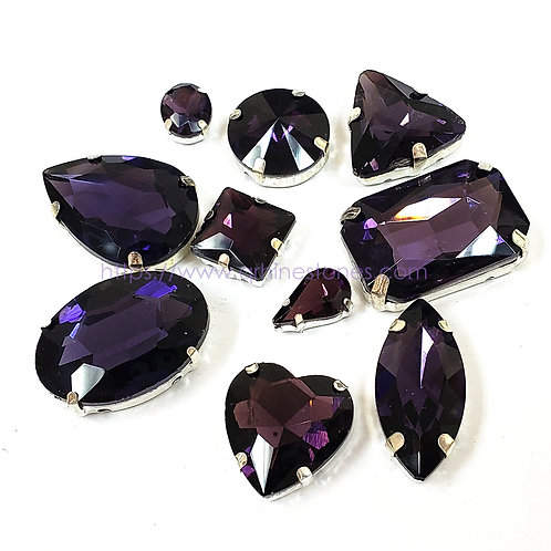 10pcs Set of Sew on Fancy Crystal Random Mix Shapes - Amethyst