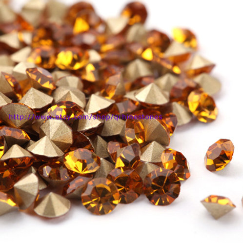 Pointed Back Rhinestones - Topaz