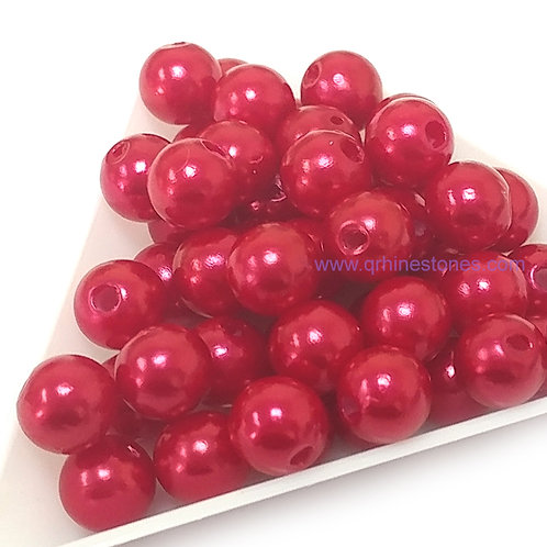 Round Spherical Pearls drilled with hole RED