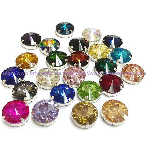 Rivoli Sew On Round Crystal Stones in silver setting