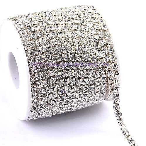Rhinestone Trim Crystal Close Chain Banding in Silver setting casing 2.5mm / 3mm