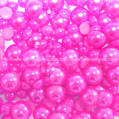 800pcs Assorted Size Flat Back Pearls - Magenta Pink
