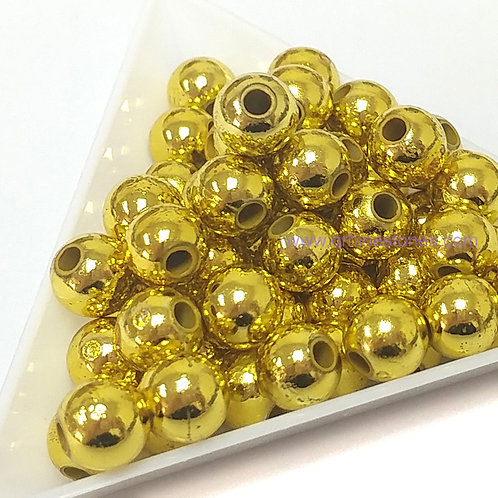 Round Spherical Pearls drilled with hole METALLIC GOLD