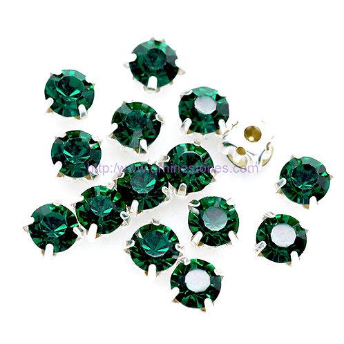 Sew on Round Chaton - Emerald