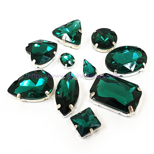 10pcs Set of Sew on Fancy Crystal Random Mix Shapes - Emerald