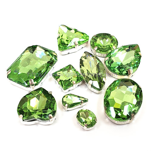 10pcs Set of Sew on Fancy Crystal Random Mix Shapes - Peridot