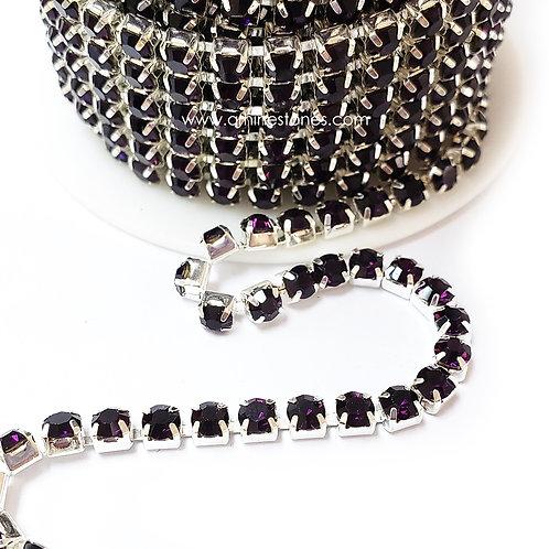 Rhinestones Trim Amethyst (Purple) Close Chain Banding