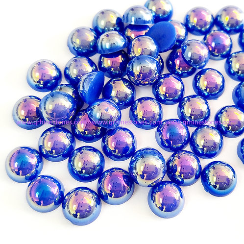Sapphire AB Flat Back Pearls
