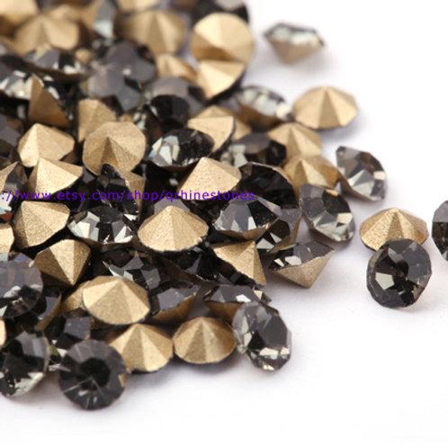 Pointed Back Rhinestones -Black Diamond