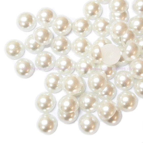 White Flat Back Pearls