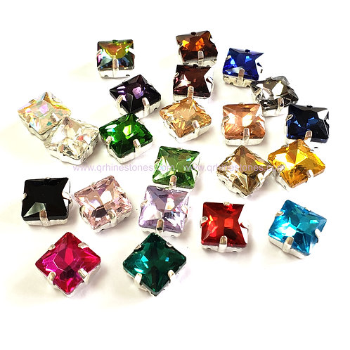 Princess Square Sew On Crystal Stones 5pcs in silver setting