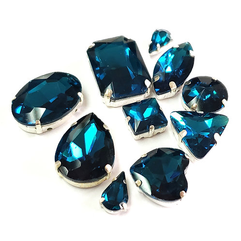 10pcs Set of Sew on Fancy Crystal Random Mix Shapes - Blue Zircon