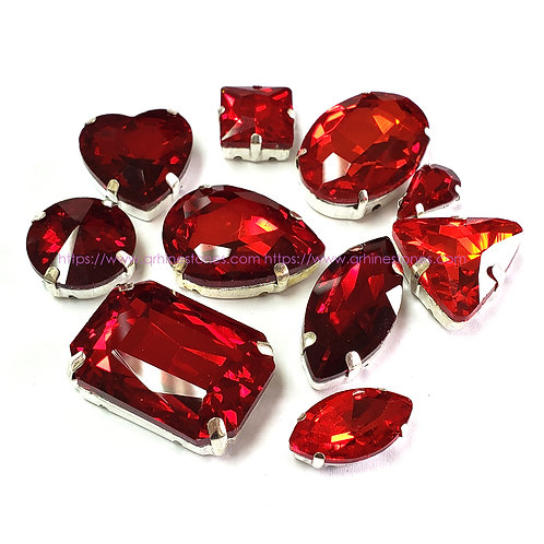 10pcs Set of Sew on Fancy Crystal Random Mix Shapes - Red