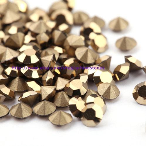 Pointed Back Rhinestones - Metallic Gold