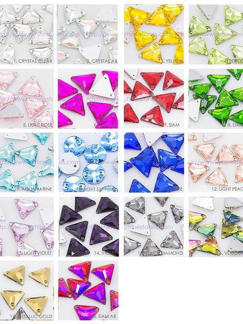 Sew On Flat back TRIANGLE Crystal Rhinestones