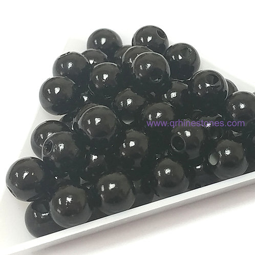 Round Spherical Pearls drilled with hole BLACK