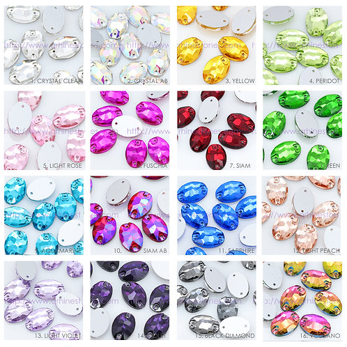 Sew On Flat back OVAL Crystal Rhinestones