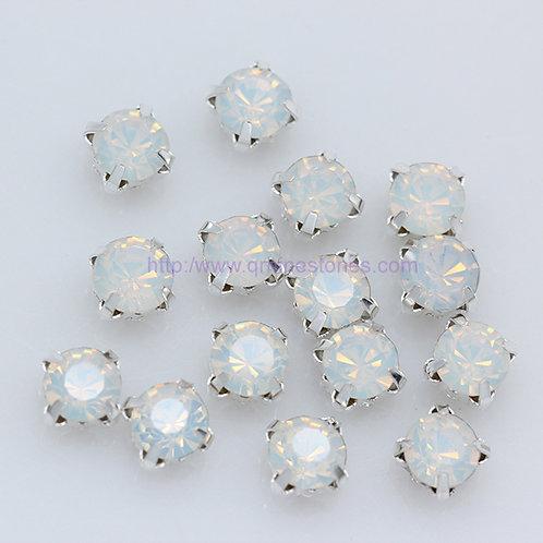 Sew On Round Chaton - White Opal