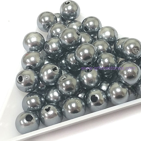 Round Spherical Pearls drilled with hole GREY HEMATITE