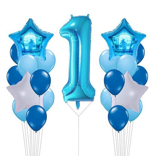 1st Birthday Blue Balloon Set