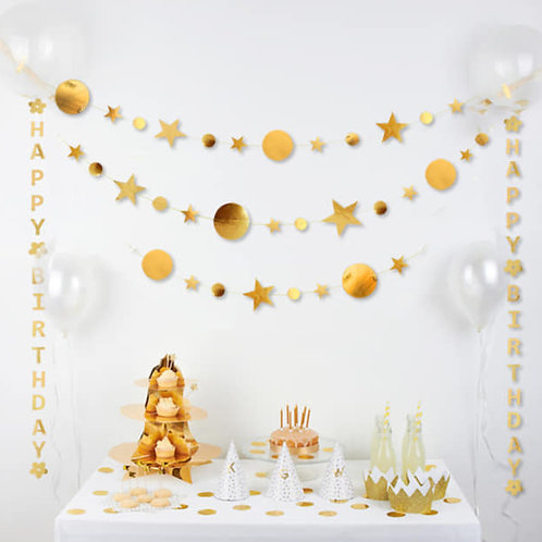 Paper Garland -Silver foil star and round cut out