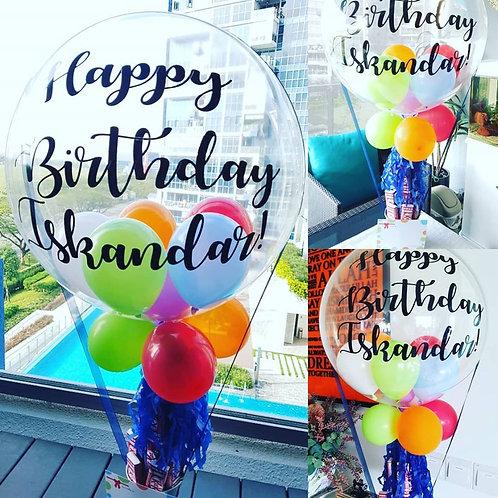 Bubble Name Balloon Table Centerpiece