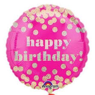 Foil Balloon -Pink Gold Dots HBD