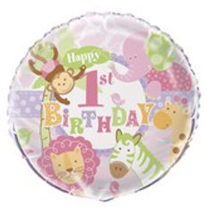 Foil Balloon 1st Pink Animal HBD