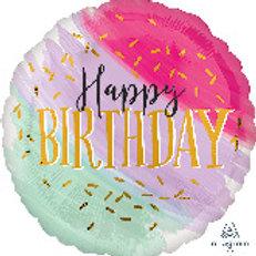 Balloon Super Shape Happy Birthday Pastel Confetti