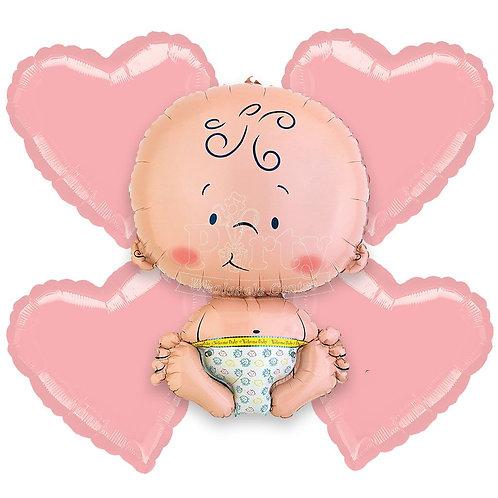 Balloon Bouquet Baby Girl Hearts