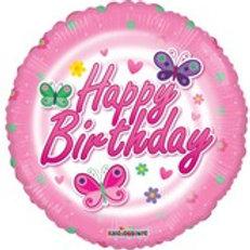 Foil Balloon -Pink Butterflies HBD
