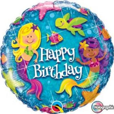 Foil Balloon Mermaid Glitter HBD