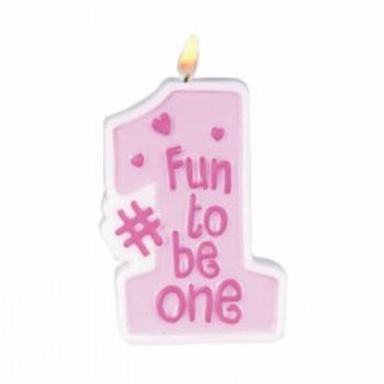 Fun To Be #1 Pink Candle